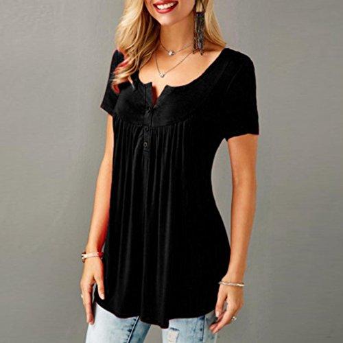 Estate Manica Casual Top Shirt Elegante Corta Shirt Nero Stampa BeautyTop Camicetta Tops Blusa T Donna Maglietta T Irregolare Donne Basic Tee Camicia q0xaBt