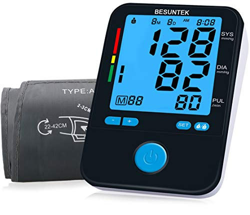 Blood Pressure Monitor Upper Arm Blood Pressure Cuff 8.7-16.5 inch LCD Display FDA Approved Blood Pressure Machine for Home Use by BESUNTEK