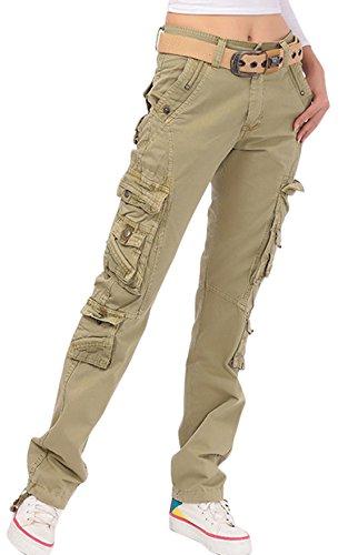 Chouyatou Women's Casual Camouflage Multi Pockets Cargo Pants (Small, 73Khaki) (Cargo Loose Straight Pant)