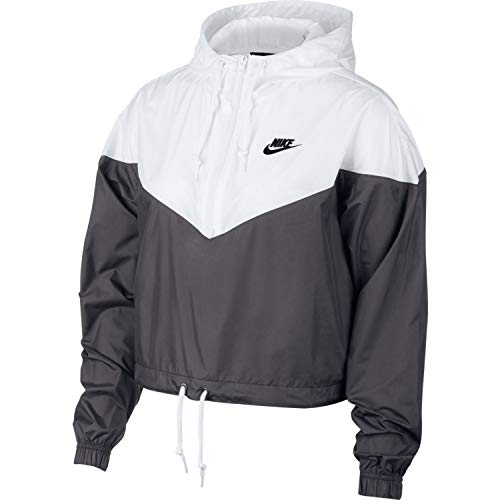 Nike Womens Heritage Windrunner Track Jacket Dark Grey/White/Black AR2511-021 Size X-Small by Nike (Image #1)