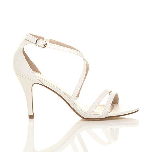 High Matte Sandals Size Ajvani Women Shoes White Heel H5wqnC