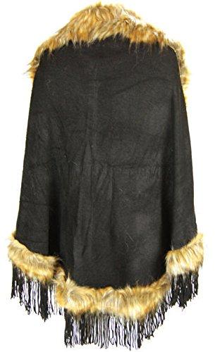 Negro Sintético Marrón Tamaño Celebmodelook Capa Plus 8 Poncho Flecos Con Piel Celemodelook A79 Mujer 26 En Y awWUUq
