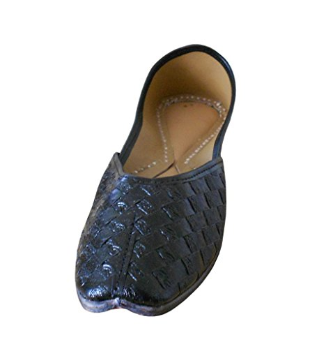 Kalra Creations Women's Traditional Handmade Synthetic Indian Designer Shoes Black