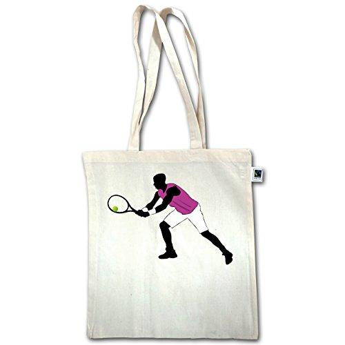 Tennis - Tennis Squash Spieler beide Arme am Schläger - Unisize - Natural - XT600 - Jutebeutel lange Henkel TK5rBpqc