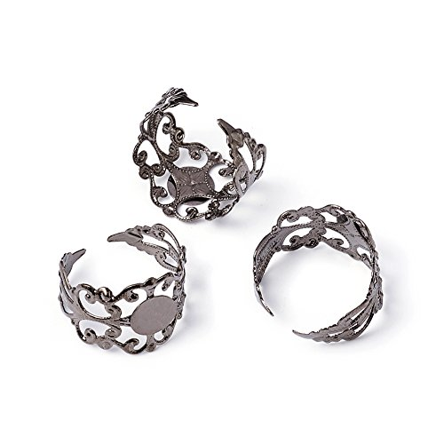 (Pandahall 5pcs Brass Adjustable Finger Ring Blank Base Filigree Ring Cabs Setting Components Findings Lead Free Tray: 8mm)