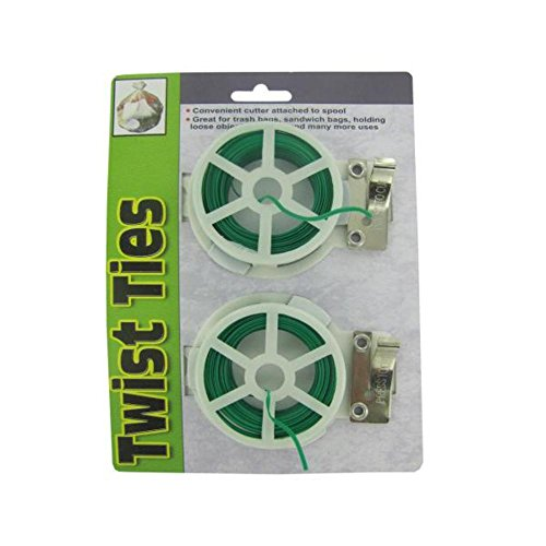 Twist Tie Spools With Cutter 96Pcs by FindingKing