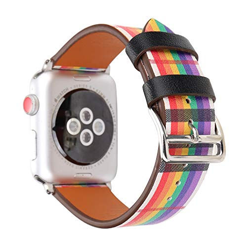 MeShow TCSHOW 44mm 42mm Colorful Tartan Plaid Style Replacement Strap Wrist Band Watch Band with Metal Adapter Compatible for Apple Watch Series 4 3 2 1(Not fit for 38mm/40mm Apple Watch) (O) from MeShow