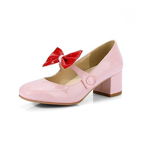 Balamasa Donna Archi Tacchi Chunky Tomaie Basse Scarpe In Vernice Vernice Rosa