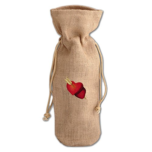 Burlap Wine Bag Heart & Arrow (Hearts Pierced By An Arrow Valentines Day Burlap Wine Drawstring Bag)
