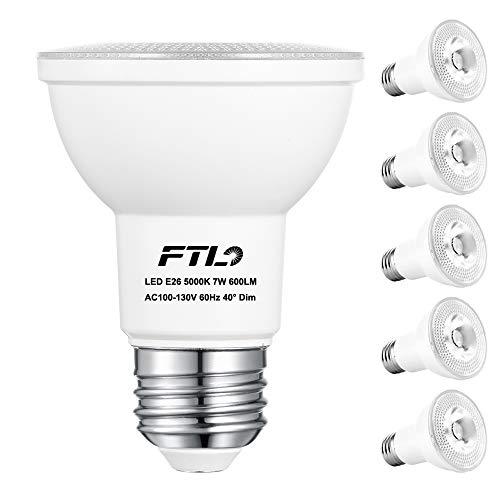 PAR20 LED Flood Bulbs, Dimmable 7W Spot Light Bulbs(50W Halogen Bulb Equivalent), 5000K Daylight White 600 Lumens E26 40 Degree, Indoor Recessed Track Lighting, 6-Pack
