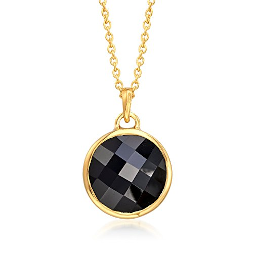Ross-Simons Black Onyx Pendant Necklace in 18kt Yellow Gold Over Sterling Silver