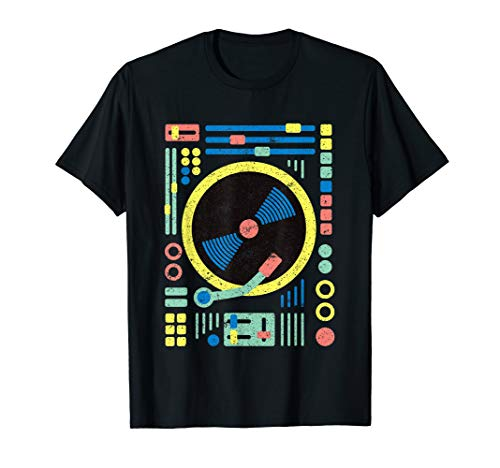 DJ T-Shirt: Retro Vintage Geometric DJ Decks / Vinyl / Mixer -