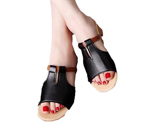 Ein bißchen Damen schöne mode sommer Herbst Frühling casual Atmungsaktive strandschuhe Clogs Pantoletten schwarz-a