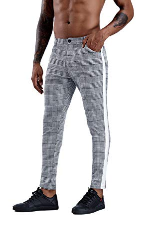 Mens Slim Fit Stretch Flat-Front Skinny Dress Pants Gray Plaid with Tape Side (White Tape Side, XL) from CANGHPGIN