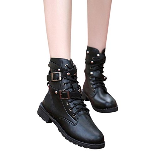 Creazy Women Ladies Soft Flat Ankle Martin Shoes Female Suede Leather Lace-Up Boots (41) (For Women Clearance Uggs)