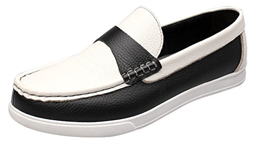 Abby 15001 Menns Mote Mokasiner Tilfeldig Skinn Smarte Loafers Slip-on Driving Svart