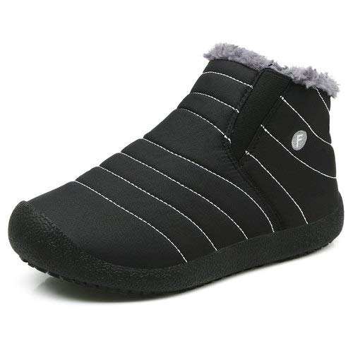 Enly Winter Snow Boots Slip-on Water Resistant Booties for Men Women Kids, Anti-Slip Lightweight Ankle Boots with Full Fur,Black/Kids,2.5 M US Little Kid