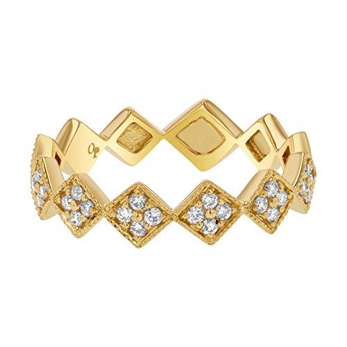 (Olivia Paris 14k Yellow Gold Diamond Princess Crown Stackable Ring (1/4 Carat cttw, H-I Color, I1 Clarity) Size 6)