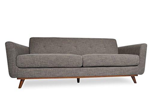 Mid Century Modern Linen Blend Fabric Brooks Sofa, Contemporary Grey 3 Seater ✮ ✮ Comfortable Sleek Seats ✮ Very Minimal Assembly – Wood Legs ✮ Satisfaction Guarantee ✮ 1 Year Warranty
