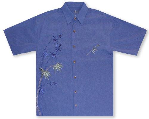Bamboo Mens Aloha Shirt - Bamboo Cay Bamboo - Blue Hawaiian Shirt