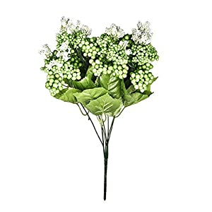 MARJON Flowers1 Bouquet 7 Branches Artificial Fake Flower and vibrantly Colored with Real Touch Natural Looking Fruit Gypsophila Wedding Home Decor - Green 81