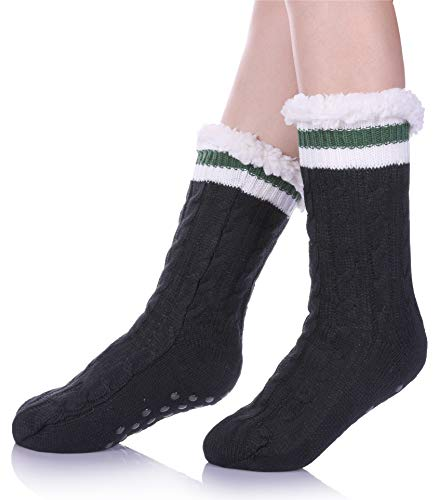 SDBING Women's Winter Super Soft Warm Cozy Fuzzy Fleece-lined Christmas Gift With Grippers Slipper Socks (Black/Stripe) (Size Stockings Plus Lined)