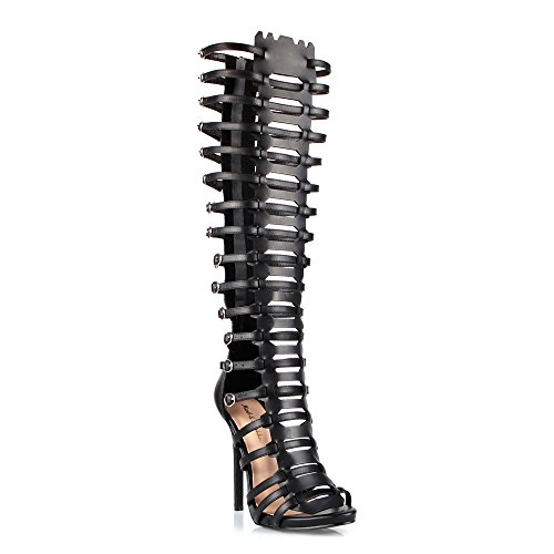 (Mark and Maddux Oscar 13 Womens Knee High Strappy Caged Cut Out Open Toe Dress Sandals Black 8.5)