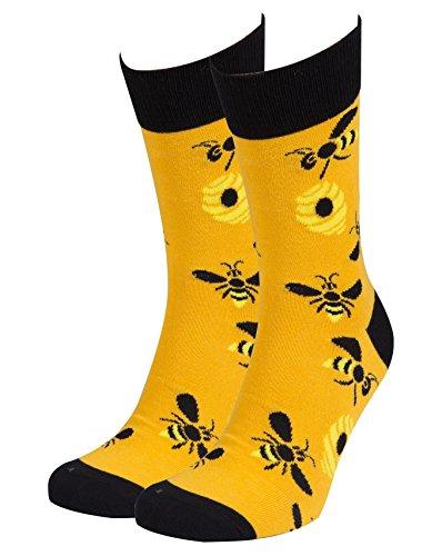 Socks n Socks-Men's Luxury Cotton Colorful Funny Cool Bees Hornet Socks Gift Box