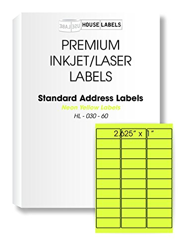50 Sheets; 1,500 Labels, 30-UP, NEON FLUORESCENT YELLOW Address Labels (1