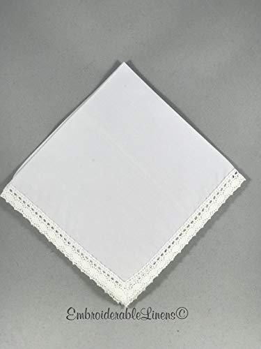 1- Crocheted Lace Edge Handkerchiefs White. Premium material, Ultra Soft, by ()