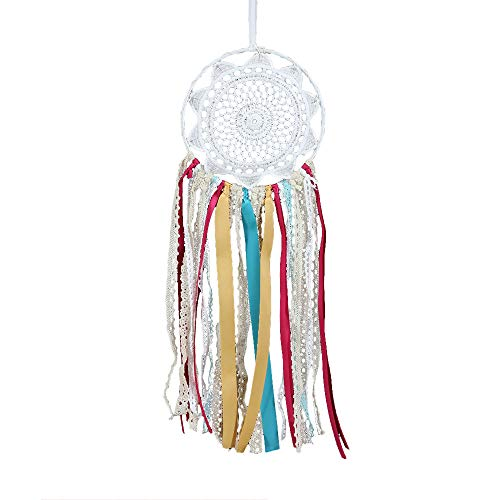 Weite Dream Catcher, Real Handmade Ribbon Dream Catcher with Bright String Lights, Exquisite Household Wall Hanging Car Hanging Ornament (White) by Weite (Image #7)