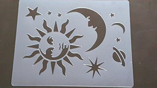 Large space themed plastic stencil sheets for greeting card making / wall border / face painting moon stars sun planet - Large Star Stencil