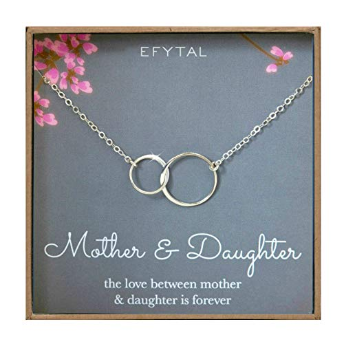 (EFYTAL Mother Daughter Necklace - Sterling Silver Two Interlocking Infinity Double Circles, Mothers Day Jewelry Birthday)