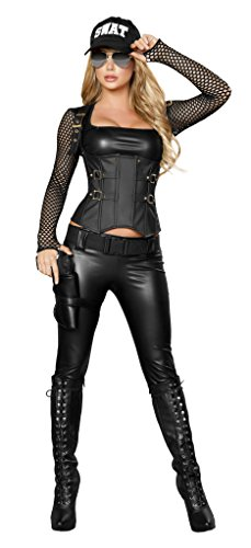 Five piece Sexy SWAT Agent Bundle with Rave Shorts (Swat Agent Sexy Costume)