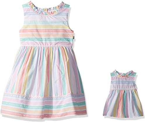 Dollie & Me Little Girls' Stripe Dress and Matching Doll Outfit, Multi, (Dress Girl Doll)