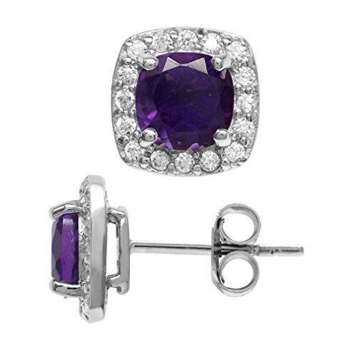 1.78ct. 6MM Natural Cushion Shape African Amethyst 925 Sterling Silver Halo Stud Earrings