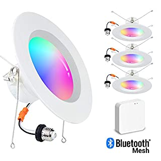 MustWin Smart Retrofit LED Recessed Lighting 6 inch LED Downlights, Bluetooth Mesh LED Can Lights Color Changing, Voice Control via Alexa, Dimmable RGBCW 15W 4-Pack (Hub Included)