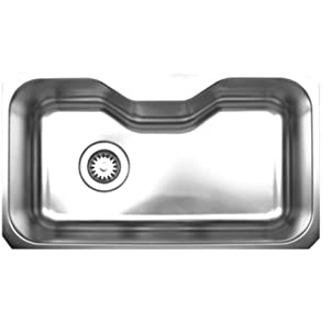 Whitehaus WHNUA3016-BSS Noah's Collection 32 1/2-Inch Single Bowl Undermount Sink, Brushed Stainless Steel