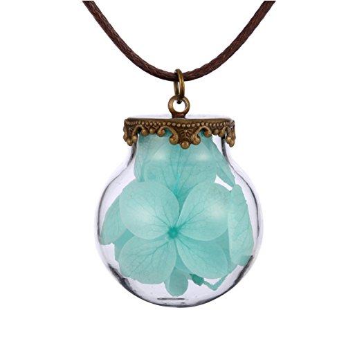FM FM42 Turquoise Hydrangea Macrophylla Dried Flowers Glass Locket Pendant Necklace FN4139