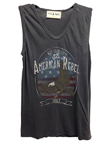 4th & Rose Women's American Rebel Eagle Flag Muscle Tank XS Charcoal
