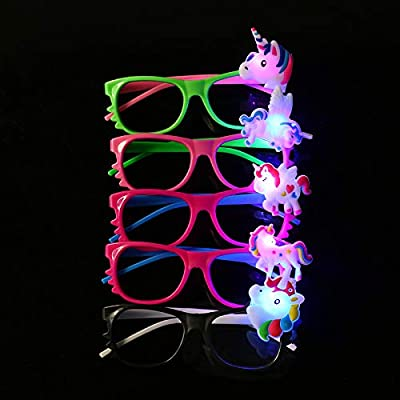 12ct LED Light Up Sunglasses - Flashing Multi Colored Led Glasses Best Party Favors Light Up Flashing Glasses for Children (Unicorn): Health & Personal Care