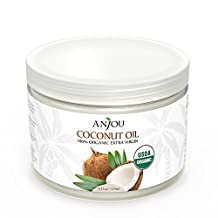 Anjou Organic Coconut Oil 325 ml, Cold Pressed Unrefined, Extra Virgin for Beauty, Cooking, Health, Dogs, DIY Lotion, Hair, Skin, Turn to Liquid above 79 F Degree, Source from Sri Lanka