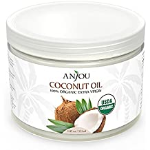 Anjou Coconut Oil, Organic Extra Virgin, Cold Pressed Unrefined for Hair, Skin, Cooking, Health, Beauty, USDA Certified, 11oz
