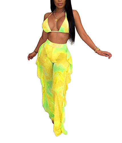 Women Sexy Beading Pearl See Through Sheer Mesh 2 Pieces Outfits Jumpsuits Bikini Crop Top and Hollow Out Ruffle Long Pants