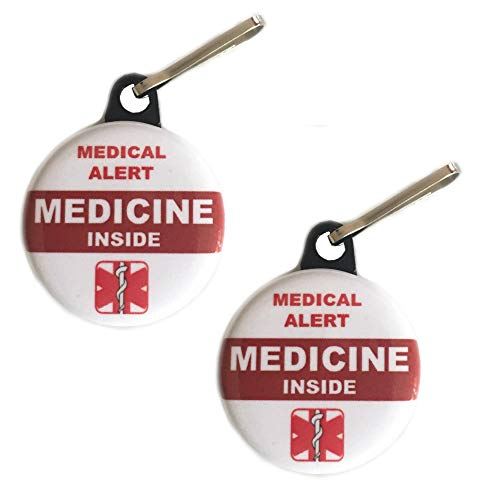 MEDICINE INSIDE Bag Tag Medical Alert Zipper Pull Set -