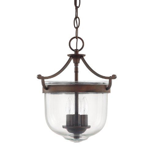Capital Lighting 9411BB Covington 3-Light Foyer Fixture, Burnished Bronze Finish With Clear Glass, 11″ x 11″ x 13.5″