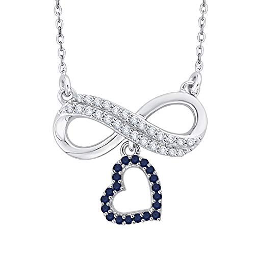 KATARINA Prong Set Diamond and Sapphire Infinity Heart Pendant Necklace in Sterling Silver (1/6 cttw, G-H, I2-I3)