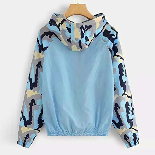 Décontracté Hoodie Coupe Cou Vjgoal vent À Capuche Bleu Zip Patchwork Camouflage Mode Sport Veste De O Femme Sweats qH7xwqZFO