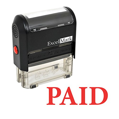 ExcelMark PAID Self-Inking Rubber Stamp - (A1539-Red Ink)