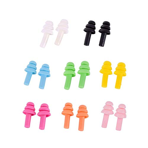 10 Pairs Silicone Waterproof Swimming Earplugs Ear Protector Noise Reduction Protective Earmuffs Comfortable Study Sleep,Multicolor-10Pairs